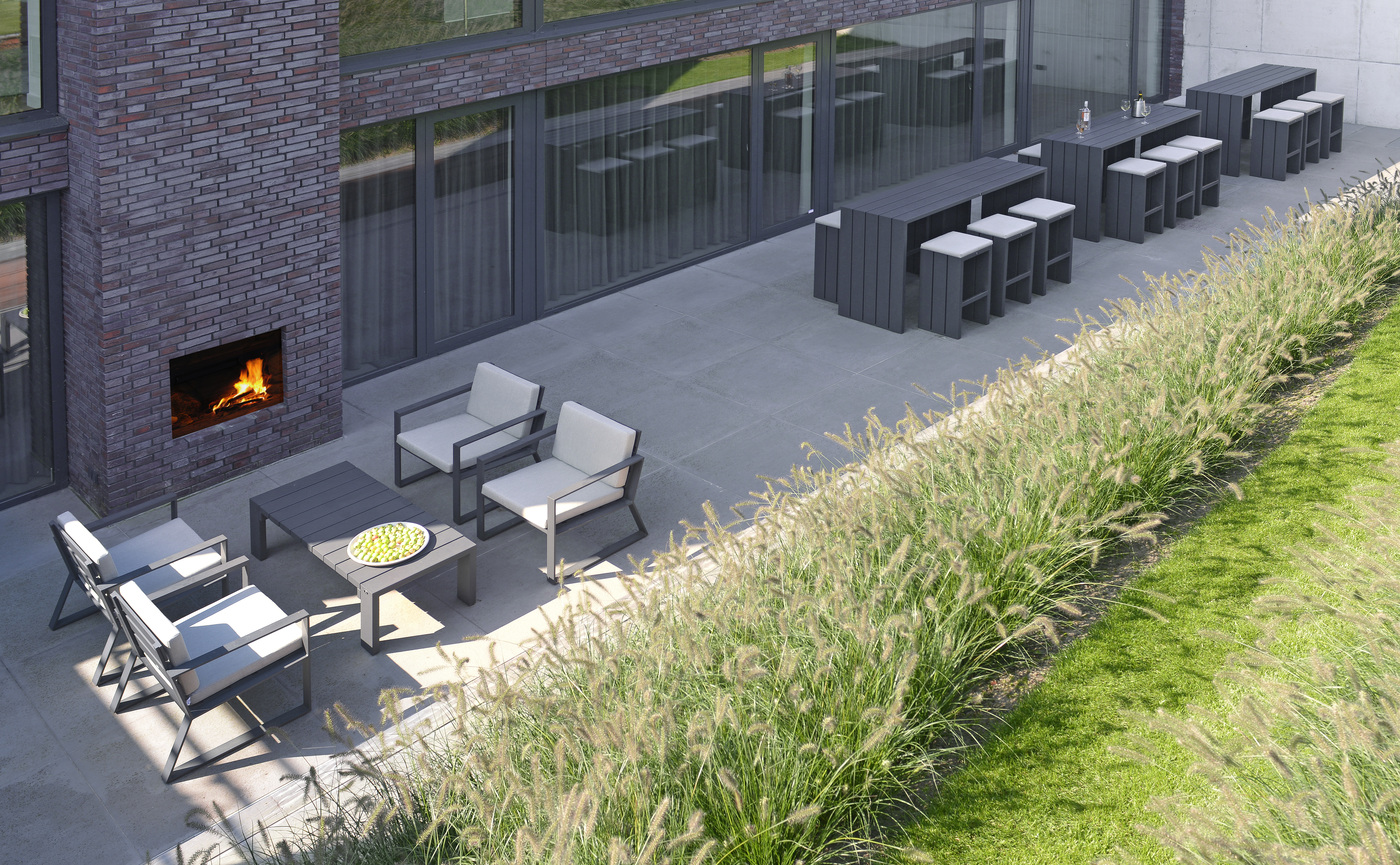 Borek aluminium Samos lounge chair, bar stool, coffee table and bar table.jpg