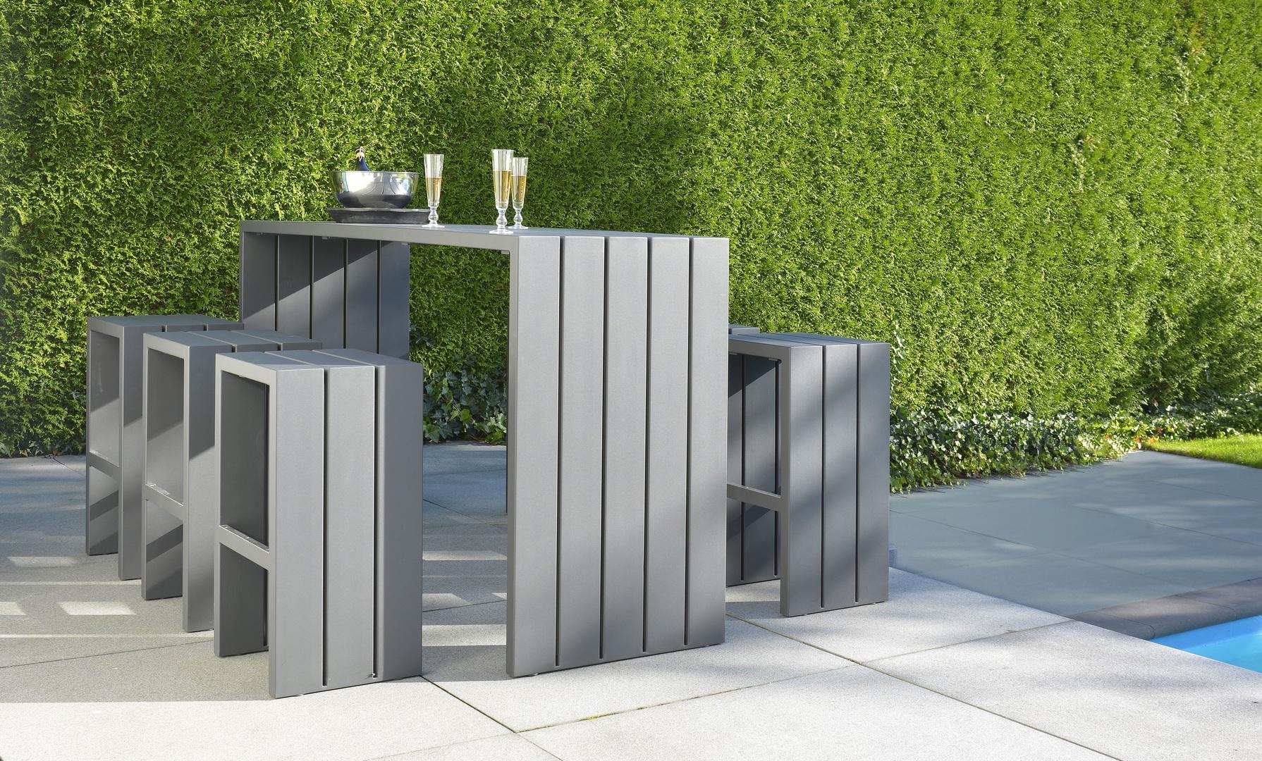 Borek Aluminium Samos bar stool and bar table (1).jpg