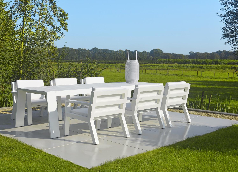 Borek aluminium Viking low dining chair and low dining table.jpg
