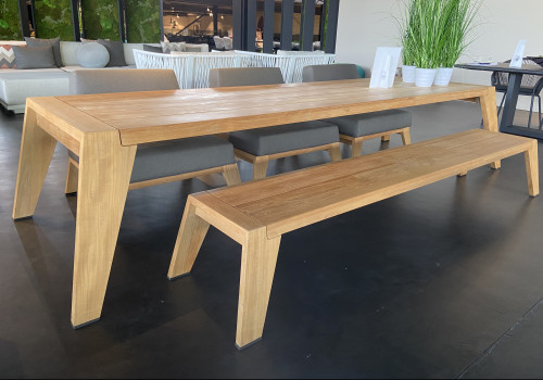 Hybrid chairs + table + bench dining set